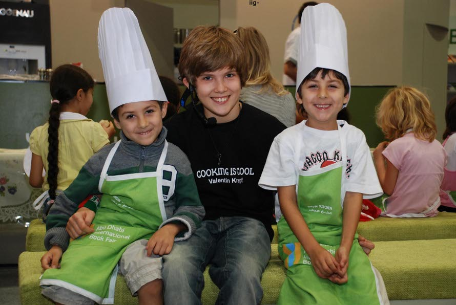 Valentin with 2 little UAE Cooking is cool fans
